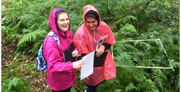 Two students doing an area study in a forest
