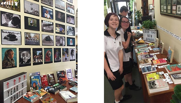 two images, one showing a library wall with photos. The second, students standing against the wall