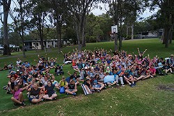 Year 7 students at camp